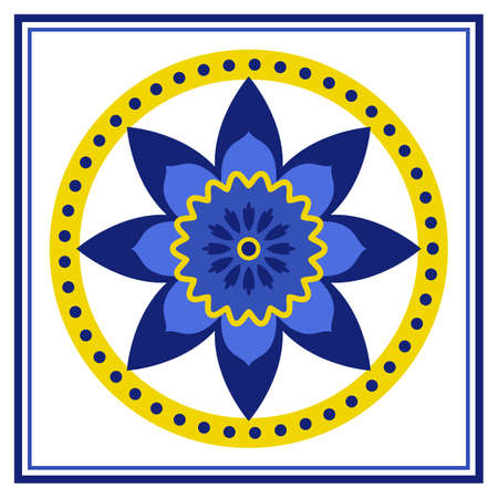 Azulejos portuguese traditional ornamental tile,