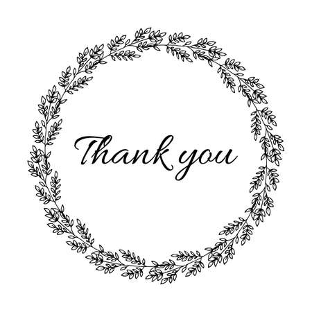 Thank you phrase with hand drawn plant wreath