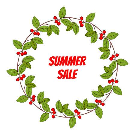 Summer sale poster, with wintergreen wreath Standard-Bild - 164474272