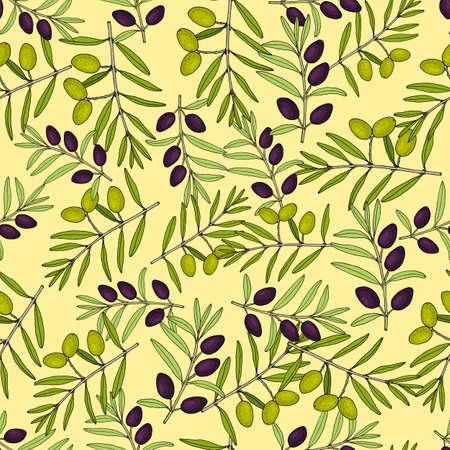 Olive branch seamless pattern