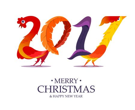 New Year symbol rooster like 2017 text.