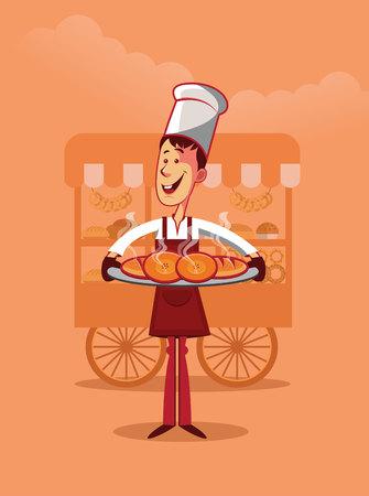 Smiling baker holding several hot bread. Cart on background illustration.