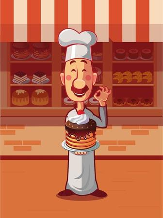 Baker hold cake on plate. Presentation new cake near bakery.  イラスト・ベクター素材