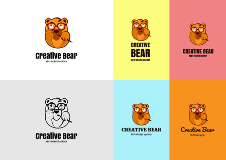 Creative bear character ideal icon for freelancer or design agency.  イラスト・ベクター素材