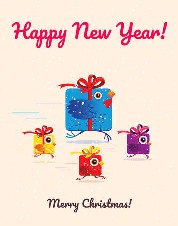 Funny birds like gift box greeting card. Gift box rooster chine 2017 new year symbol. Vector illustration