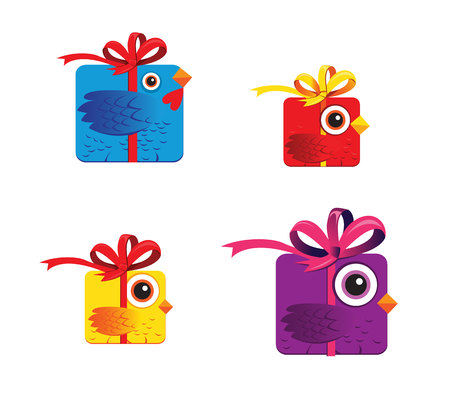 Four colorful birds like gift box. Rooster symbol 2017 New Year. Vector illustration.  イラスト・ベクター素材