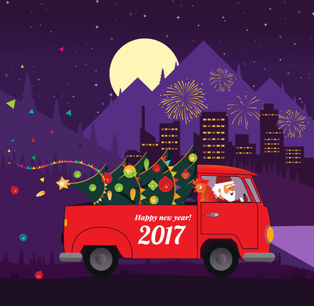 Santa drive car with New year symbol rooster. Santa truck with christmas tree. Vector illustration.