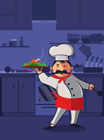Chef cooking at kitchen room. Italian chef presentation new dish. Vector illustration.
