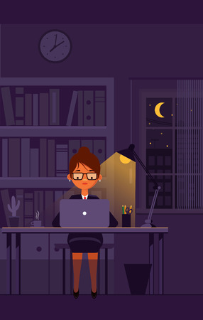 girl laptop: Business girl works on laptop at office till night. Vector illustration.