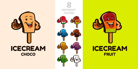 Funny Ice Cream Character. Ideal for food, cafe and ice cream business . 8 different colors.