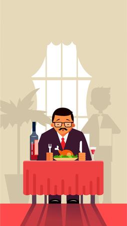 Businessman eating at the restaurant, cafe. Vector illustration.