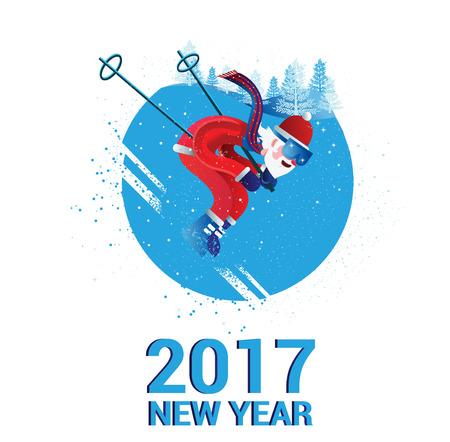 Santa Claus skiing. Isolated card illustration. Vector.  イラスト・ベクター素材