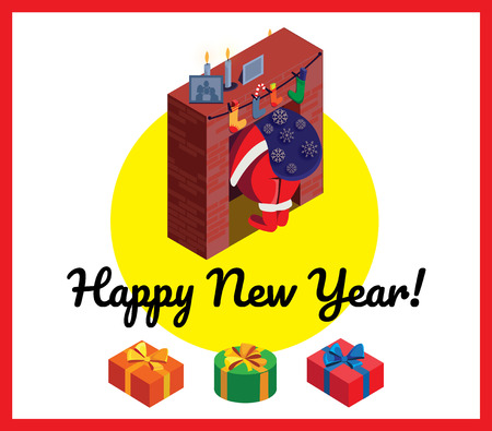 Santa Claus in fireplace. Greeting card Happy New Year. Vector illustration.  イラスト・ベクター素材