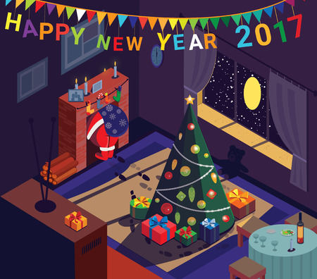 Santa goes up fireplace after leaving gifts. Cozy home, New Year tree. Vector illustration.