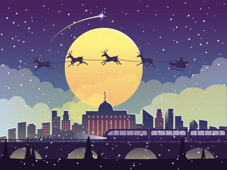 The flying Santa Claus with reindeer at midnight on the city. New year vector illustration.  イラスト・ベクター素材