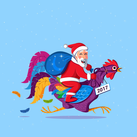 Santa Claus sitting on a rooster. Rooster symbol of 2017 year. Funny card vector illustration