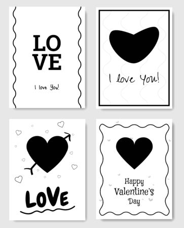 Set of 4 Valentines Day Gift Card. Card design elements. Black and White. Vector.