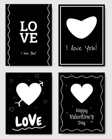 Set of 4 Valentines Day Gift Card. Card design elements. White and black. Vector.  イラスト・ベクター素材