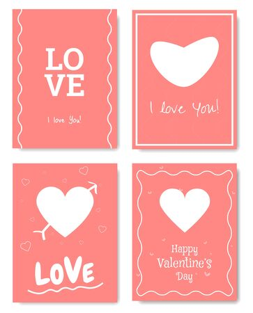 Set of 4 Valentines Day Gift Card. Card design elements. Vector.
