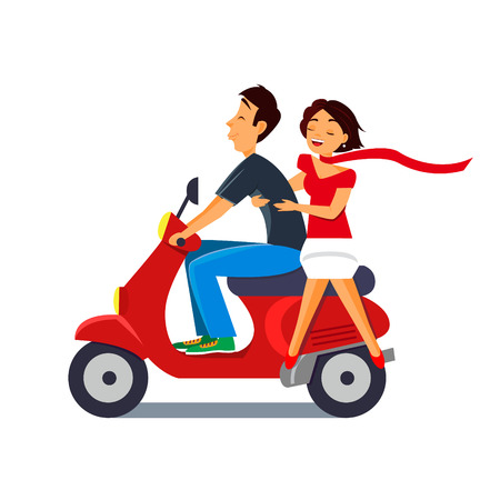 Happy couple ride on motorcycle. Girls scarf blowing. Vector illustration.