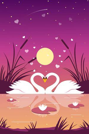 Two swans in sunset make heart shape. Love symbol. Vector illustration.