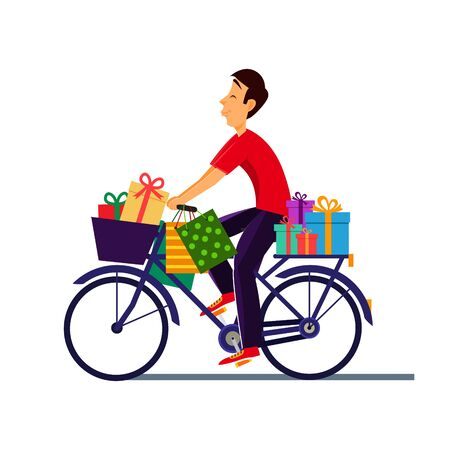 Young boy on bicycle with gifts. Deliveryman, courier with gifts. Vector illustration.