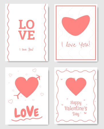Set of 4 Valentines Day Gift Card. Card design elements. Pink color. Vector.  イラスト・ベクター素材