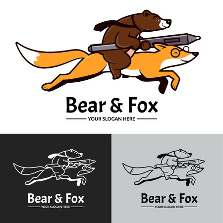 Brown bear riding on orange fox with graphic tablet pen. Logo template , vector illustration.