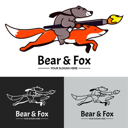 Gray bear riding on red fox. Creative studio logo, brush, vector.