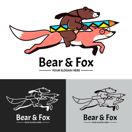 Bear riding on creative pink fox. Black and white version logo. Vector.