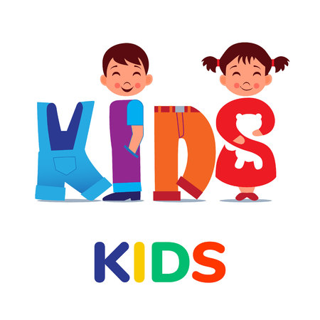 KIDS word like clothing. Logo for clothing shop. Vector illustration. Stock Illustratie