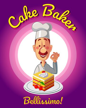 Chef with delicious cake. Banner and menu purple vector illustration.