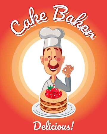 Chef holding delicious cake with red cherry. Colorful vector banner illustration.