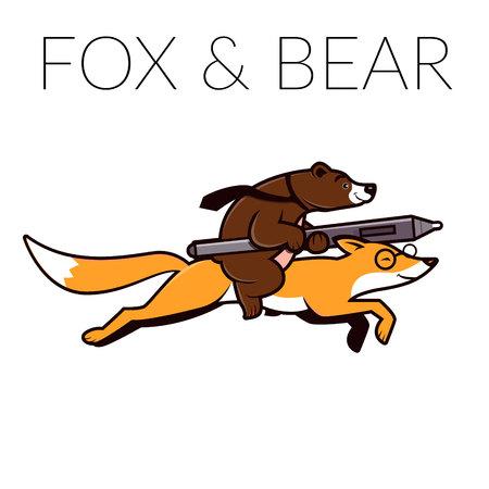 Fox and bear logo template. Bear riding on fox, unusually animal illustration.  イラスト・ベクター素材