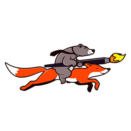 Fox and bear design team logo illustration. Bear riding on red fox. Vector.