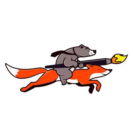 foxy: Fox and bear design team logo illustration. Bear riding on red fox. Vector.