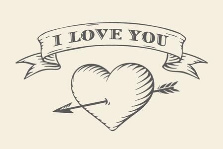 te quiero mucho: la cinta de edad con el mensaje Te amo, coraz�n y flecha en el estilo de grabado de la vendimia en un fondo beige. Tarjeta de felicitaci�n para el D�a de San Valent�n. Vectores
