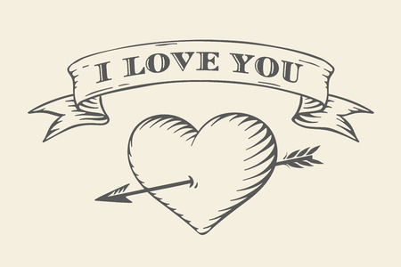 love you: Old ribbon with message I love you, heart and arrow in vintage style engraving on a beige background. Greeting card for Valentines Day.  Illustration