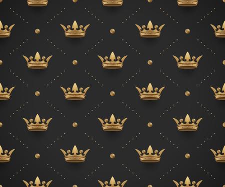 Nahtloses goldenes Muster mit King Kronen auf einem dunklen schwarzen Hintergrund.
