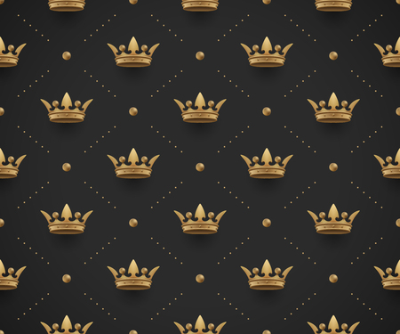 Seamless gold pattern with king crowns on a dark black background.  Illustration