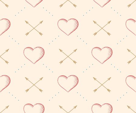 Seamless pattern with heart and arrow in vintage style engraving on a beige background for Valentine\'s Day.