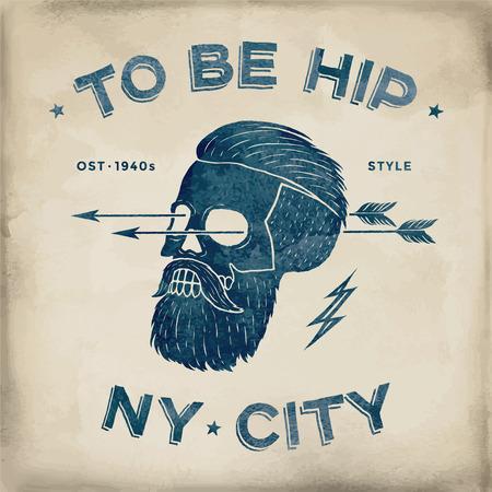 Poster of vintage skull hipster label. Retro old school set. Vector Illustration with typographic for t-shirt prints Illustration