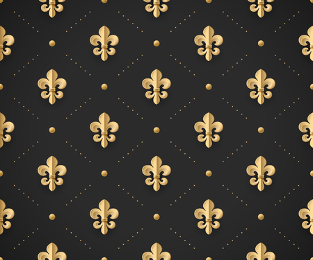 royal french lily symbols: Seamless gold pattern with fleur-de-lys on a dark black background. Vector Illustration