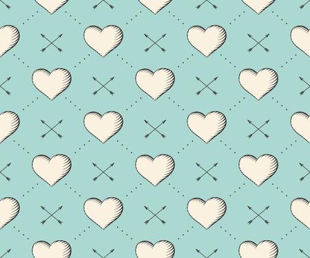 papel tapiz turquesa: Patrón sin fisuras con el corazón y las flechas de la vendimia en el estilo de grabado sobre un fondo azul turquesa para el Día de San Valentín. Dibujado a mano. Ilustración del vector