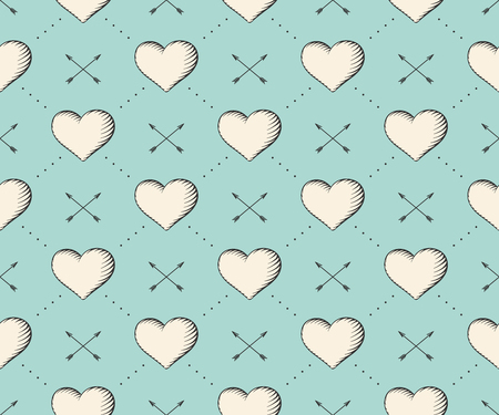 engraving print: Seamless pattern with heart and arrows in vintage style engraving on a turquoise background for Valentines Day. Hand drawn. Vector Illustration Illustration