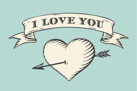 paper art: Old ribbon with message I love you, heart and arrow in vintage style engraving on a turquoise background. Greeting card for Valentines Day. Hand drawn. Vector illustration