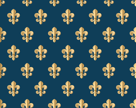 royal french lily symbols: Seamless gold pattern with fleur-de-lys on a dark blue background. Vector Illustration