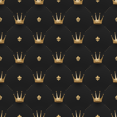 Seamless gold pattern with king crowns and fleur-de-lys on a dark black background. Vector illustration