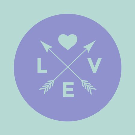 heart icon: badge for creative design project. Hipster embleme with arrow, heart and word Love on a turquoise and violet background. illustration Illustration