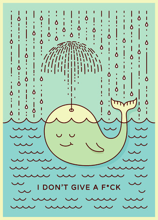 careless: Postcard with cute careless whale baby swimming in the sea under rain making umbrella out of his fountain. Flat style design concept in pastel colors. Vector illustration